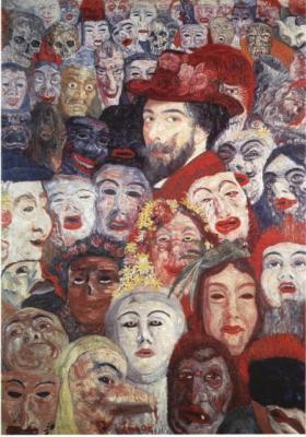 Autorretrato entre máscaras, James Ensor
