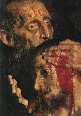 Detalle de Iván el Terrible y su hijo Iván el 16 de noviembre de 1581, por I. Repin (1885). Galería Tretyakov, Moscú