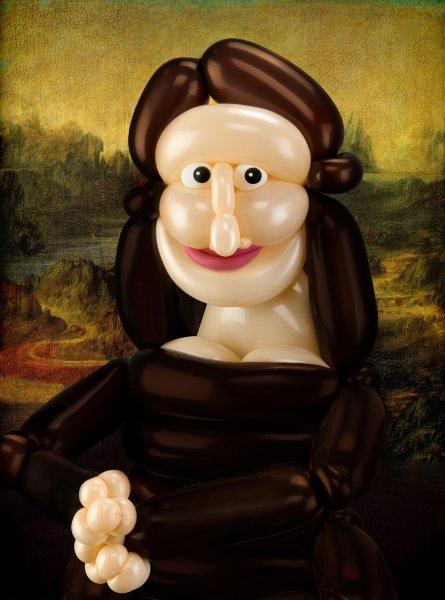 Mona Lisa con globos, por Larry Moss