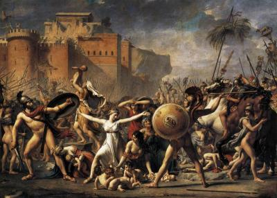 The Sabine Women Enforcing Peace by Running Between the Combatants de Jacques-Louis David