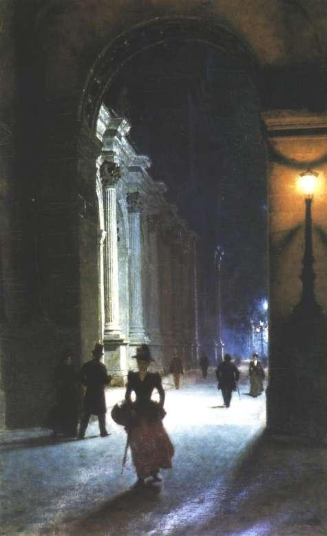 Luwr nocą de Aleksander Gierymski