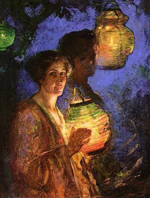 Ladies With Lighted Lanterns de Lillian Genth