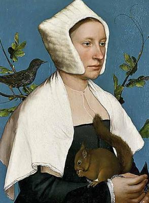 Dama con una ardilla y un estornino de Hans Holbein
