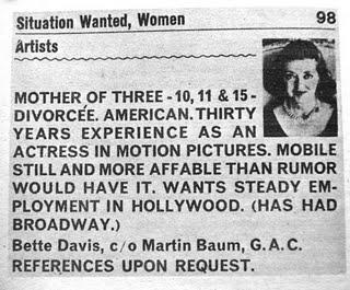 Anuncio de Bette Davis pidiendo trabajo