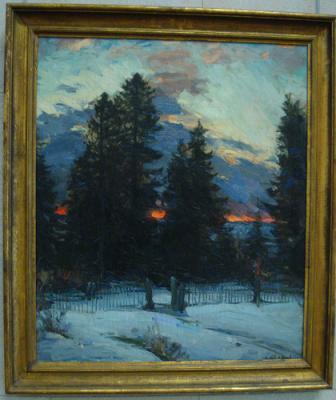 Coucher de soleil sur un paysage d'hiver de Abram Arkhipov