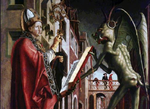 El Diablo Sostiene el Misal de San Wolfang, S. XV